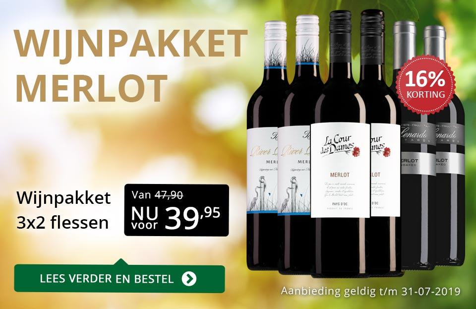 Wijnpakket Merlot (3x2 flessen) - goud/zwart