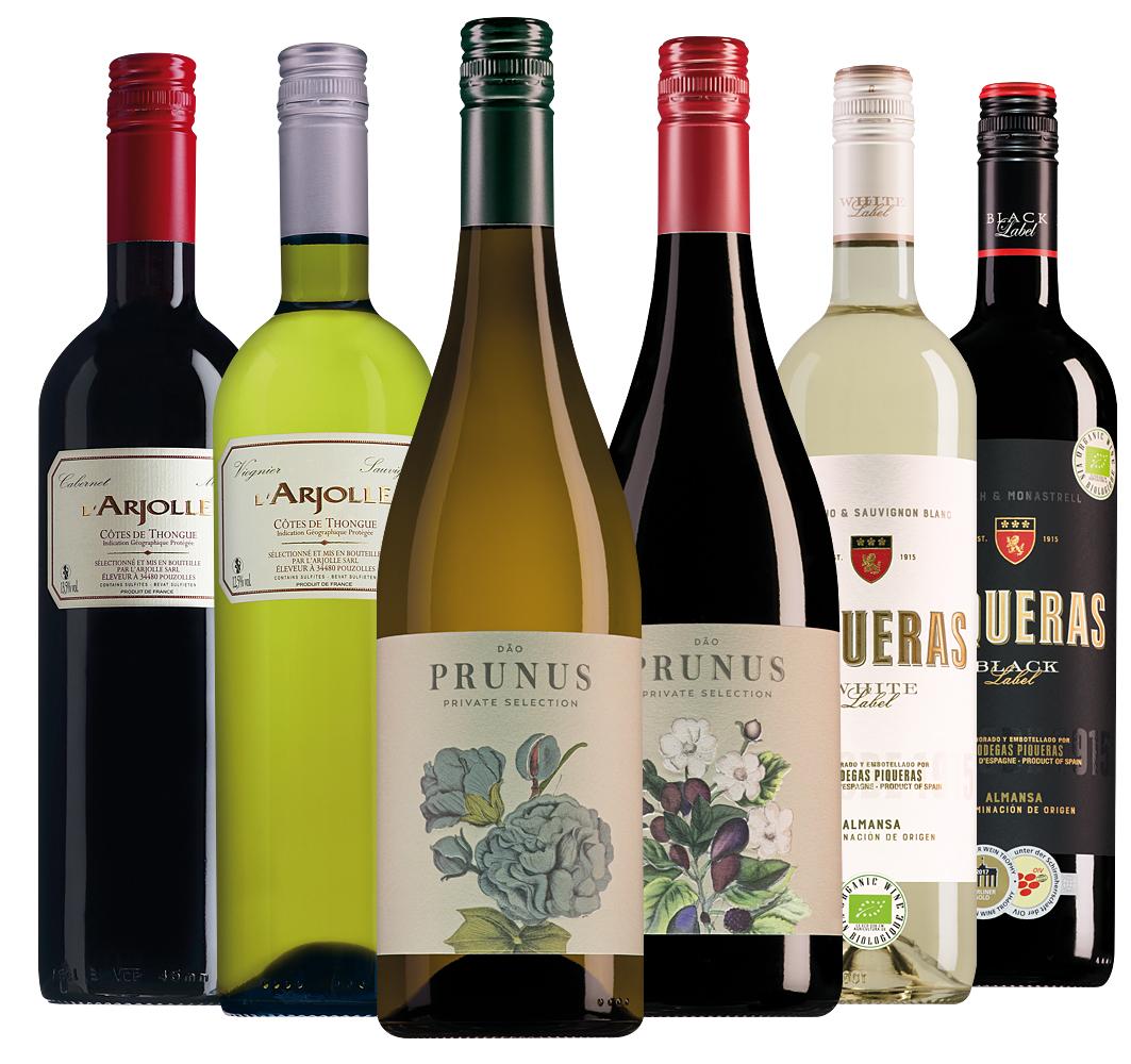 Wijnpakket best verkochte wijnen onder de € 8 (6 flessen)