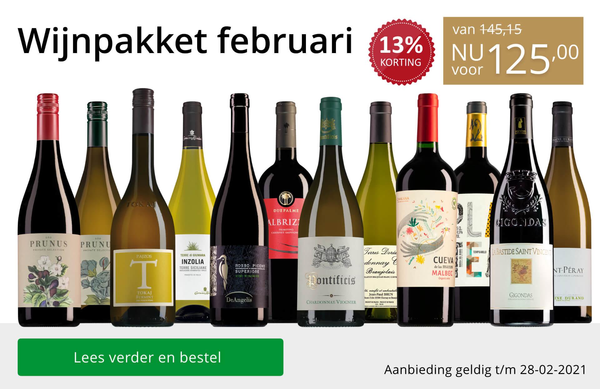 Wijnpakket wijnbericht februari 2021(125,00)-goud/zwart