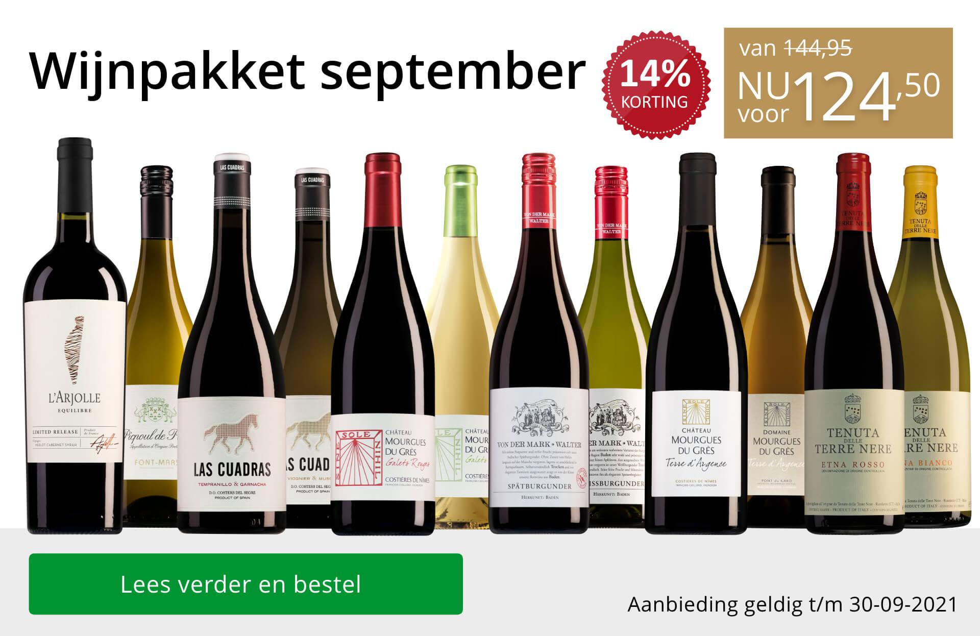 Wijnpakket wijnbericht september 2021 - goud/zwart