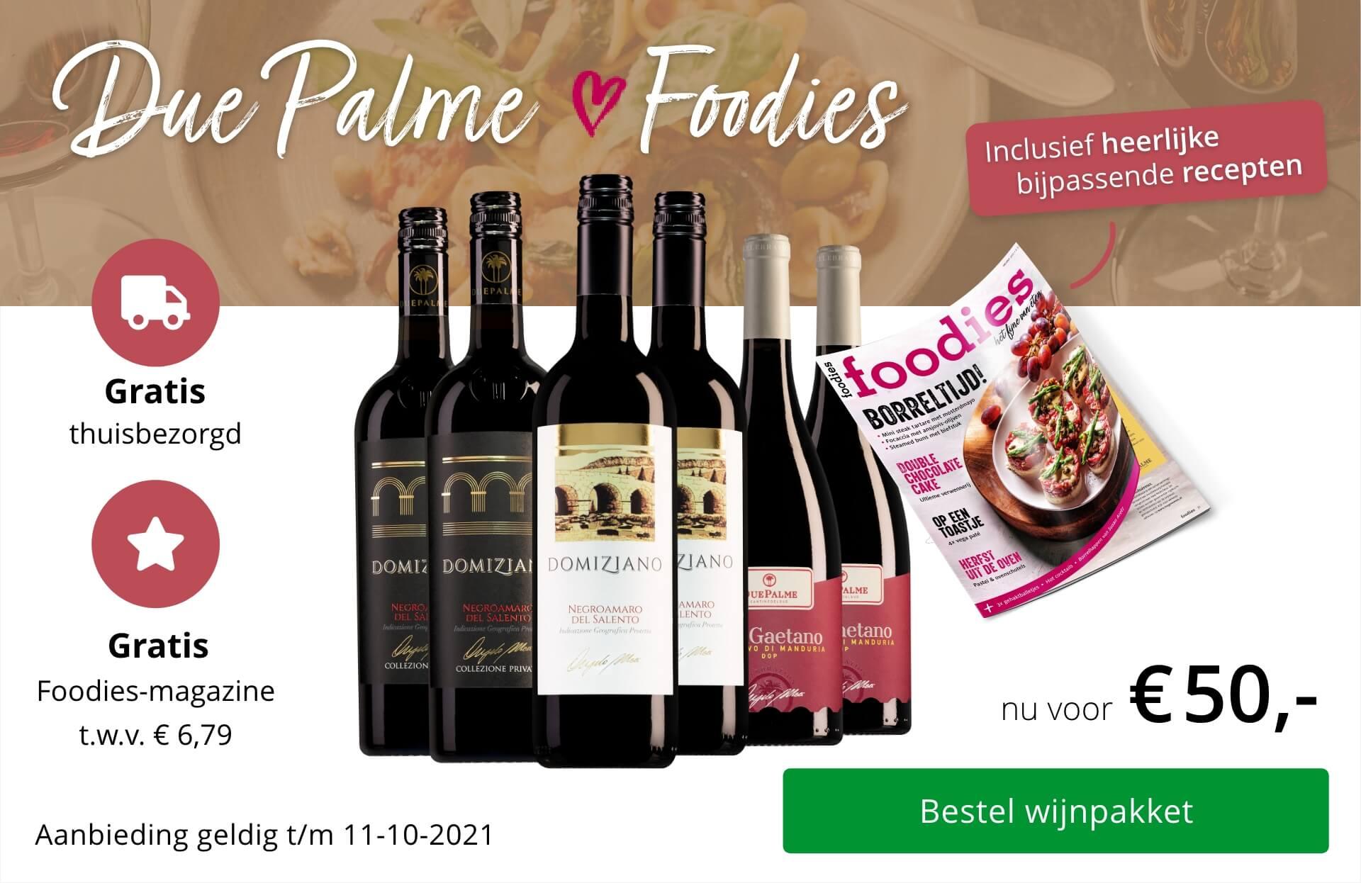 Wijnpakket Due Palme Foodies sept 2021