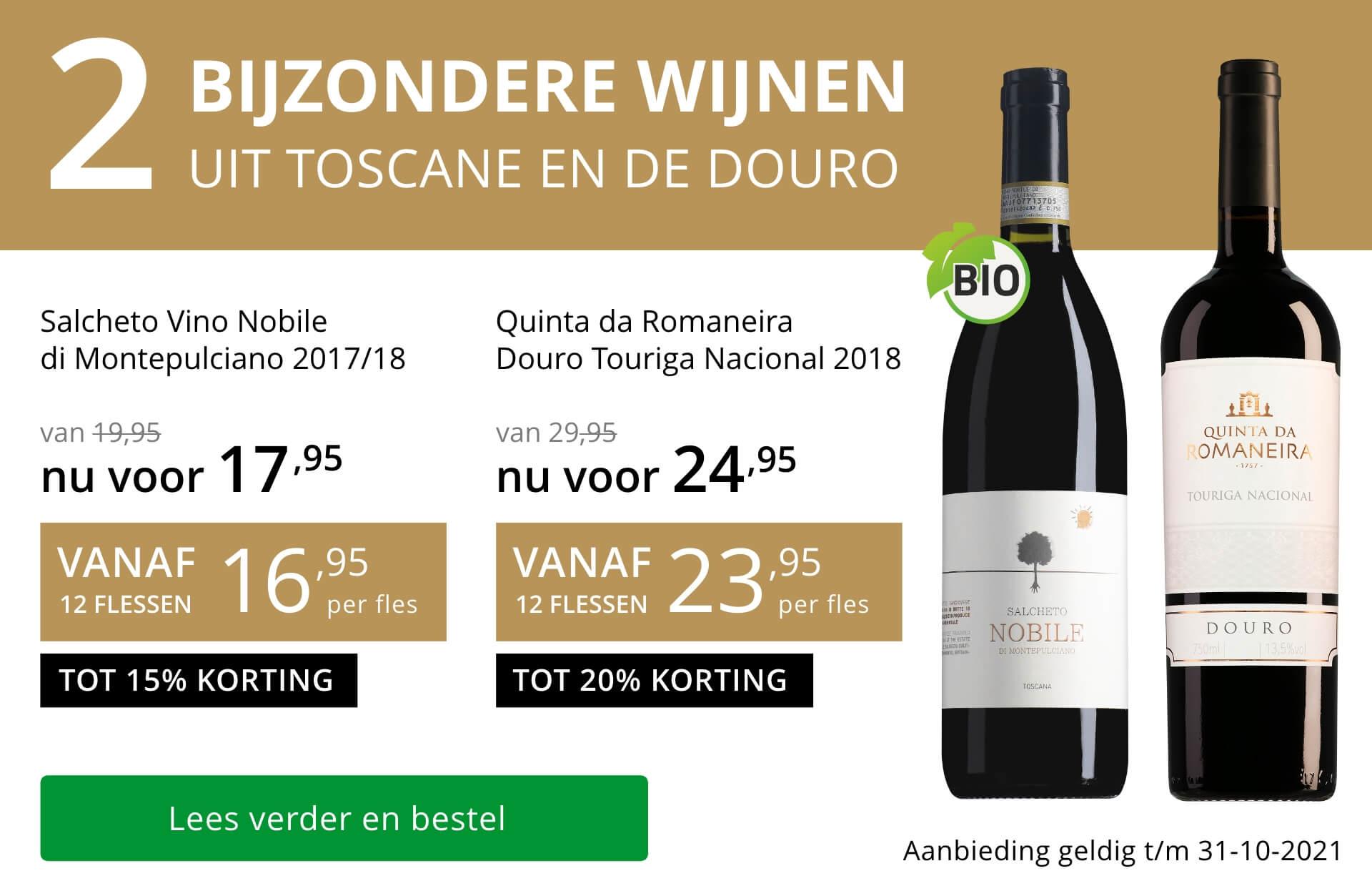 Twee bijzondere wijnen oktober 2021 - goud/zwart